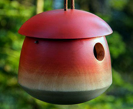 round red birdhouse