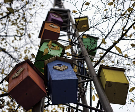 colorful bird houses on a pole
